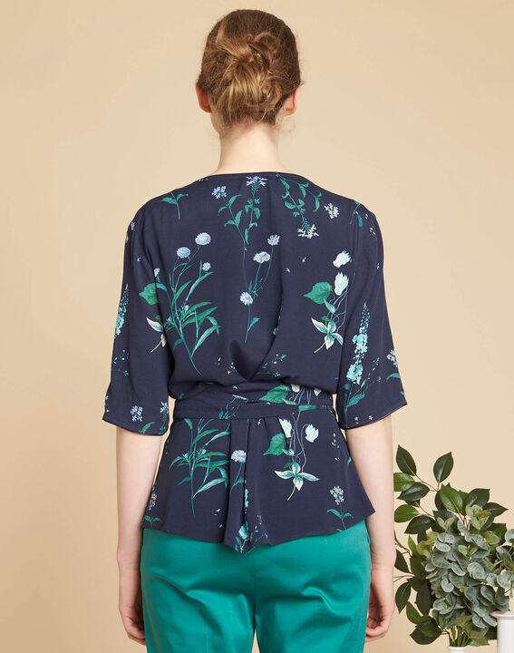 Marineblaue Wickelbluse mit Blumenprint Daniella (4) - 1-2-3