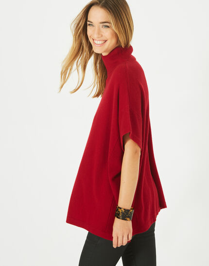 Passiflore Red cashmere cape with polo neck (2) - 1-2-3