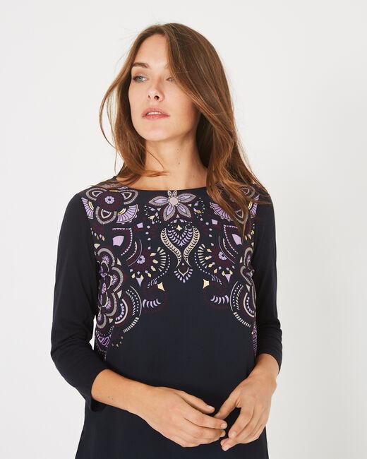 Tee-shirt marine imprimé fleurs Babydoll (2) - 1-2-3