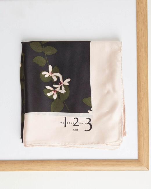 Carré de soie imprimé floral Aglae (1) - 1-2-3