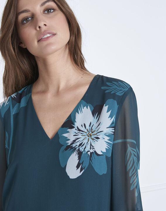 Robe vert foncé imprimé fleuri Astrid (3) - Maison 123