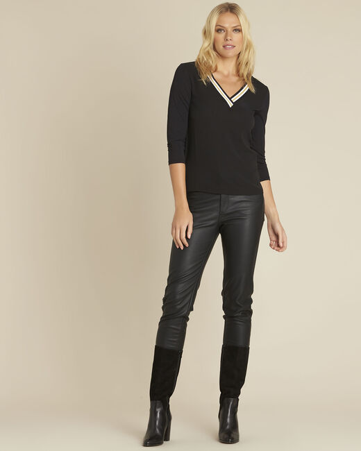 Schwarze Bluse aus Bimaterial mit V-Ausschnitt Clare (1) - 1-2-3