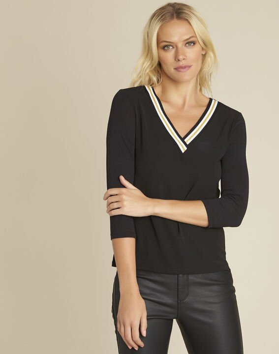 Clare black bi-material blouse with V-neck PhotoZ | 1-2-3