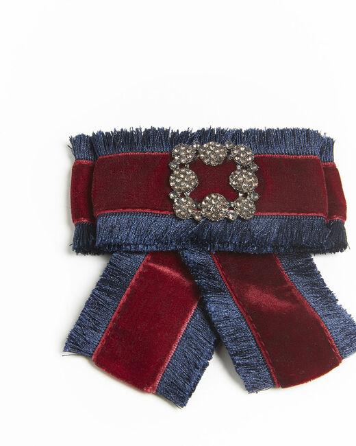 Broche baroque noeud rouge velours Xavière (2) - 37653