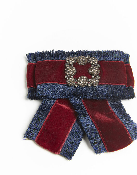 Broche baroque noeud rouge velours Xavière PhotoZ | 1-2-3