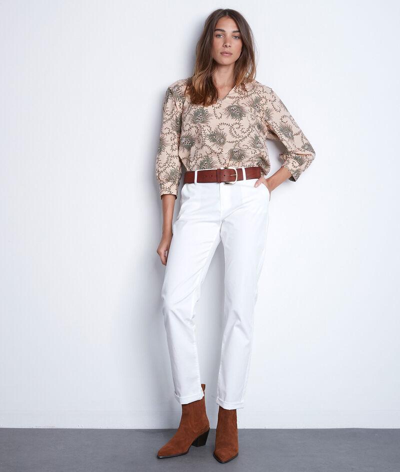 Pantalon droit en coton blanc Francis PhotoZ | 1-2-3