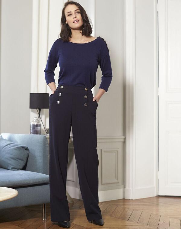 Marineblauwe trui met fantasiedetails aan de schouders Betty (2) - 37653
