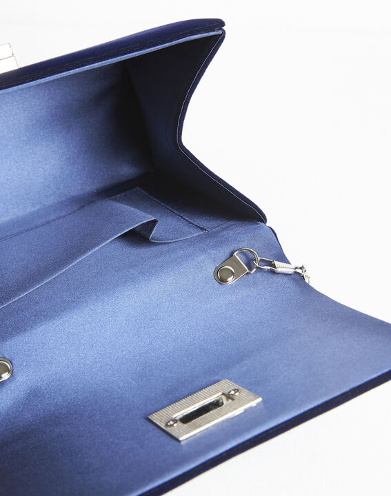 Ismael navy blue clutch bag with silver tone clasp (2) - 1-2-3