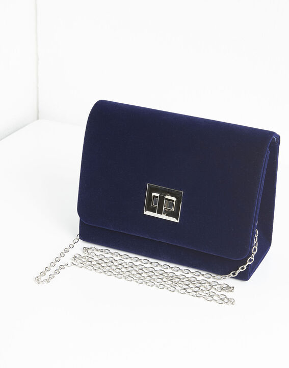 Ismael navy blue clutch bag with silver tone clasp (1) - Maison 123