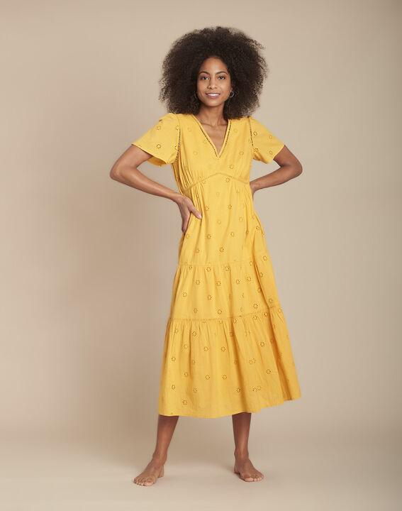 Robe jaune longue broderie anglaise Lima PhotoZ | 1-2-3