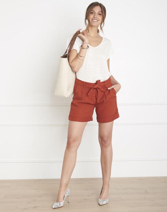 Tee-shirt écru col V en lin Perfect PhotoZ   1-2-3