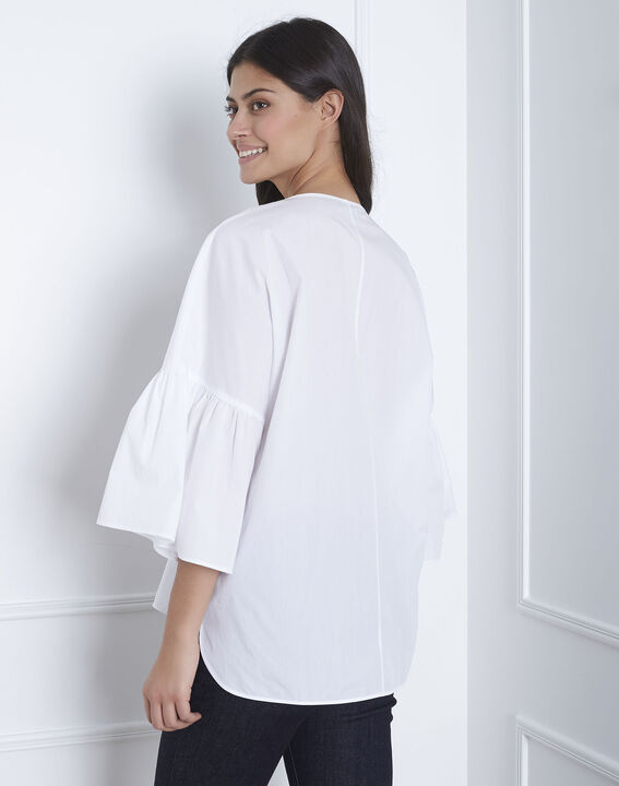 Blouse blanche popeline noeud Vianna (4) - Maison 123