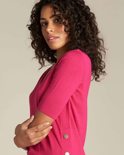Novette fuchsia sweater with golden press-studs (2) - 1-2-3