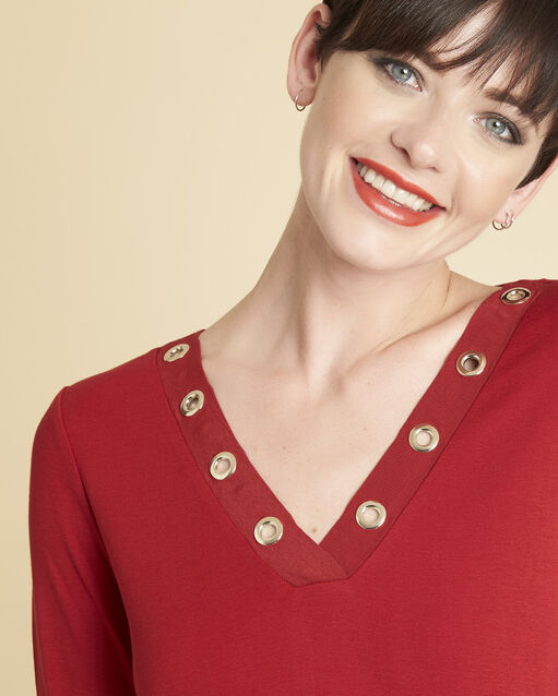Tee-shirt rouge encolure oeillets Basic (2) - 1-2-3