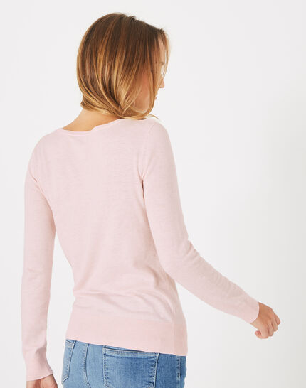 Planète pale pink sweater with V-neck and diamante (4) - 1-2-3