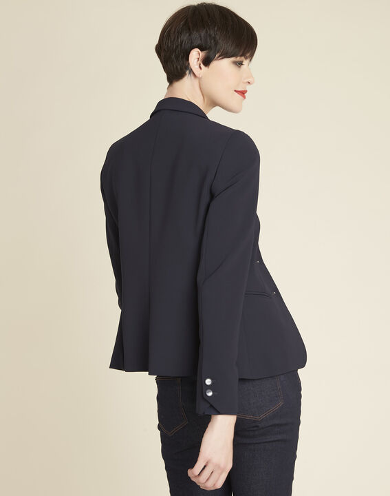 Eve navy blue short tailored jacket (4) - 1-2-3