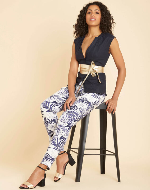 Gina navy blue linen top with Mandarin openwork collar (2) - 1-2-3