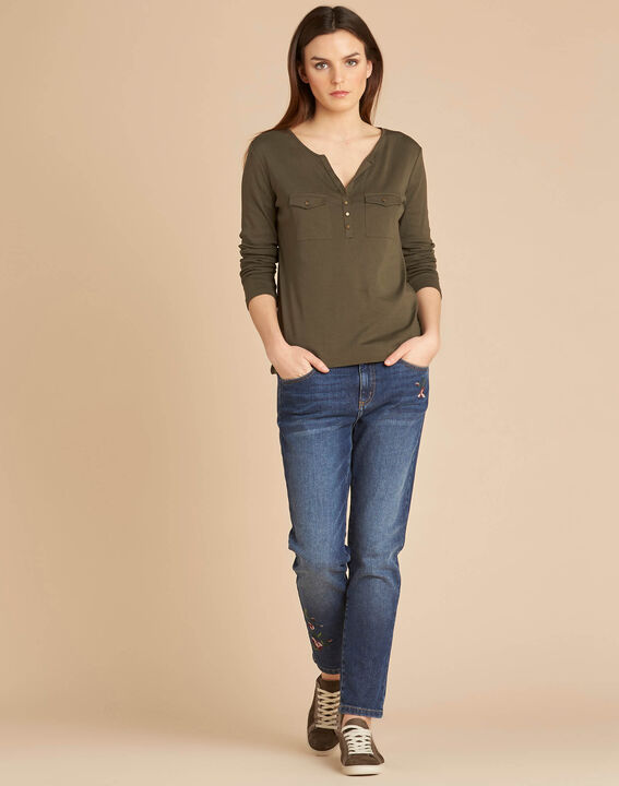 Edith khaki T-Shirt with 3/4 length sleeves (2) - 1-2-3