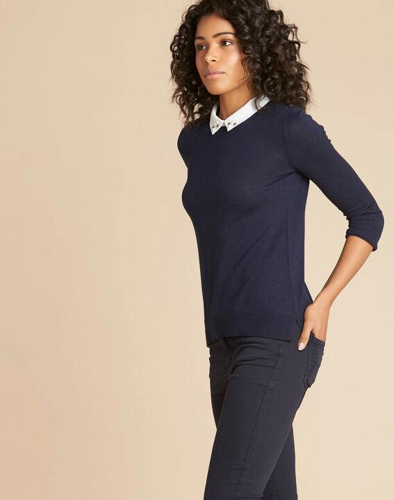Marineblaues T-Shirt mit Hemdkragen und Perlendetails Noe (3) - 1-2-3