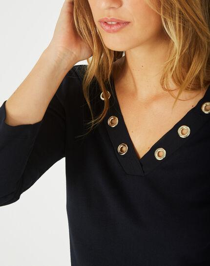Tee-shirt marine col V à oeillets Basic (3) - 1-2-3