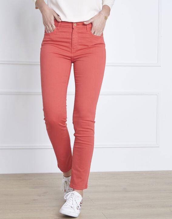 Korallenrote 7/8-Jeans Slim Fit Baumwollsatin Vendome (1) - Maison 123