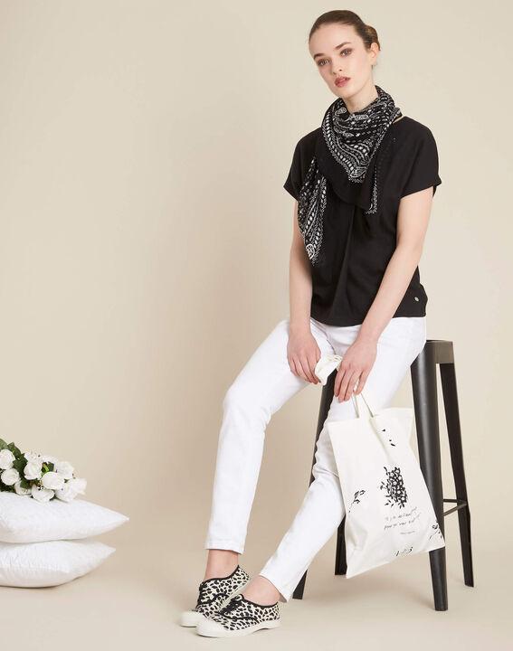 Gaia V-neck black dual-fabric top (2) - 1-2-3