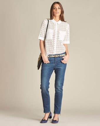 Gisele ecru lace blouse in 100% cotton ecru.
