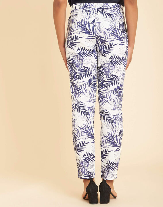 Pantalon cigarette marine imprimé palme en lin Jill (4) - 1-2-3