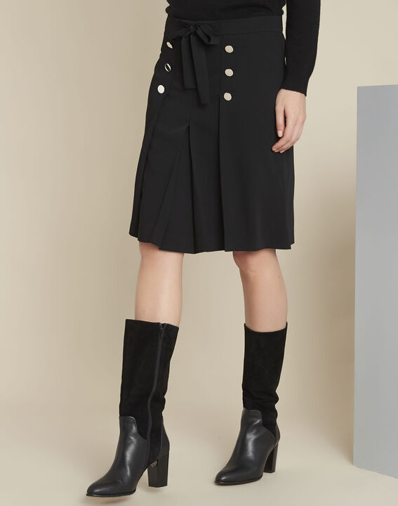 Alix black ruffle skirt with silver-look buttons (1) - Maison 123