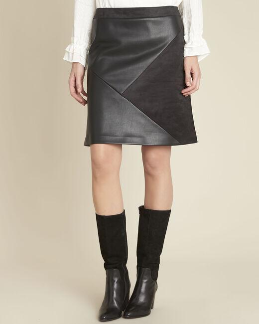 Jupe noire faux cuir trapèze Abby (2) - 1-2-3