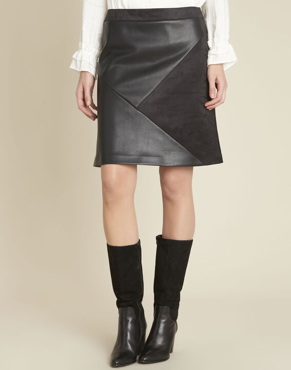 Abby black trapezoid faux leather skirt PhotoZ | 1-2-3