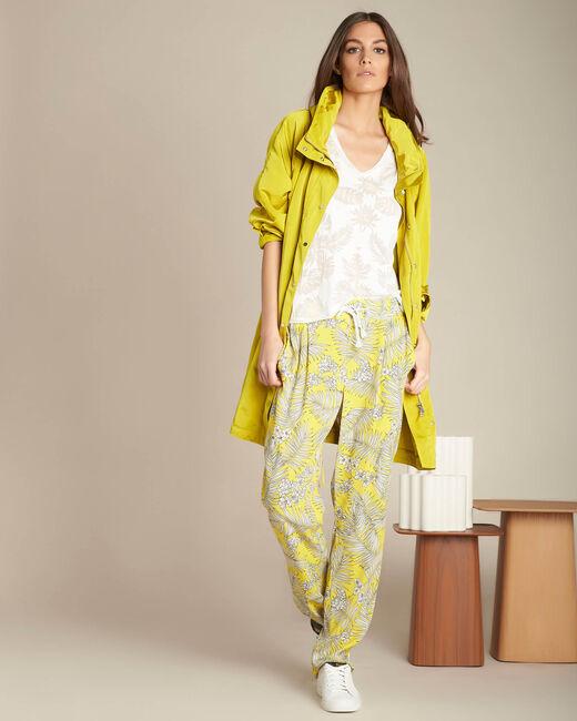 Pantalon jaune fluide imprimé fleuri Silae (1) - 1-2-3