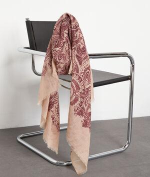 Foulard en laine imprimé bordeaux Paisley
