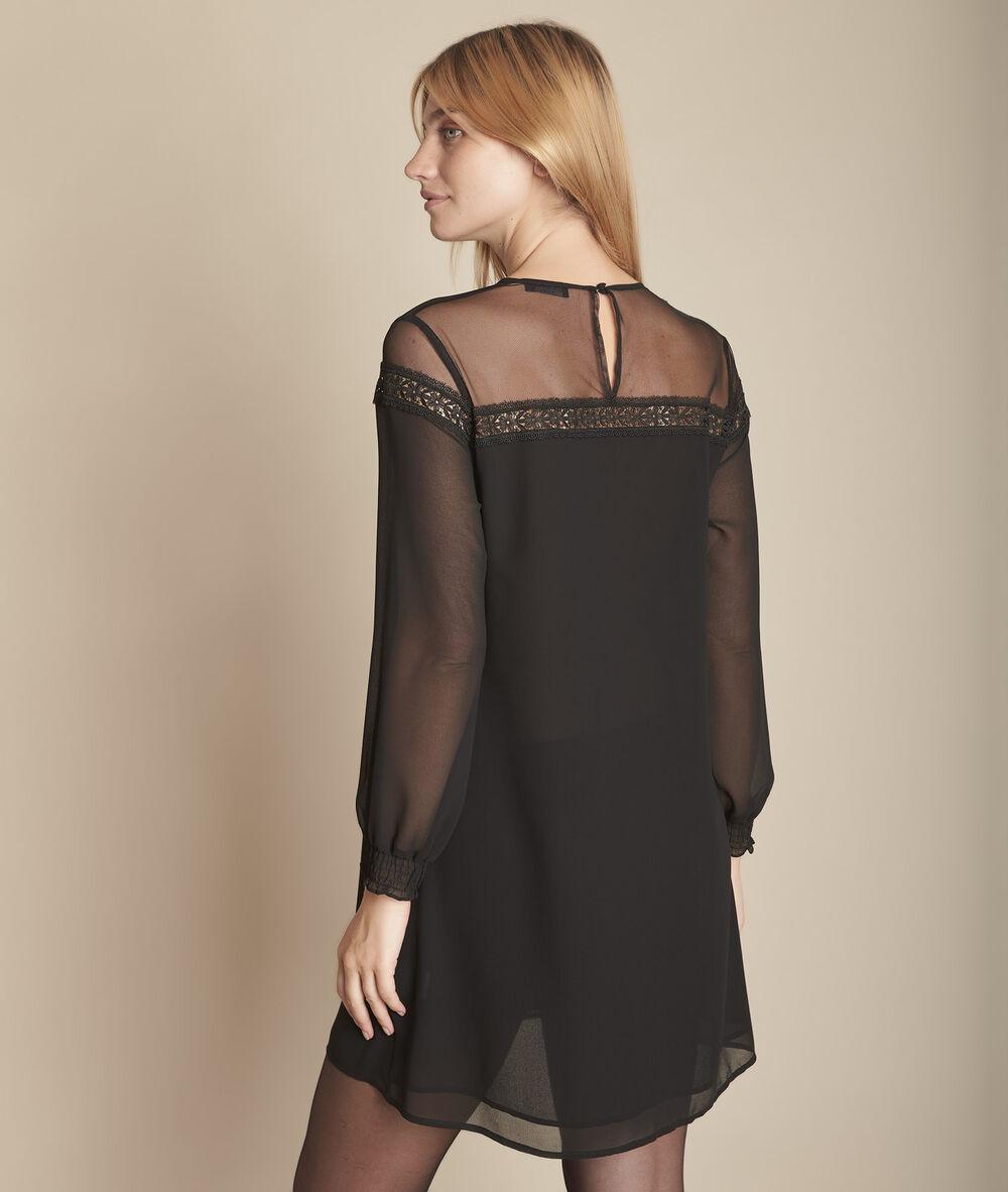 Kleid Schwarz Transparenz Und Spitze Renee Damen Maison 123