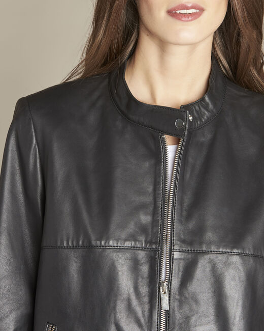 Tibo short black leather jacket (2) - 1-2-3