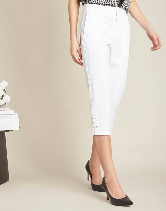 Jamy white cotton cropped trousers with lacing (3) - 1-2-3