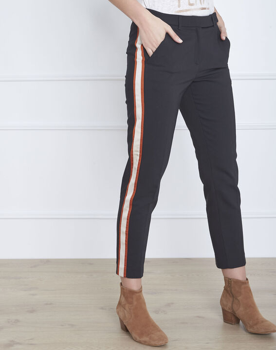 Pantalon noir bande latérale acajou Golden (2) - Maison 123