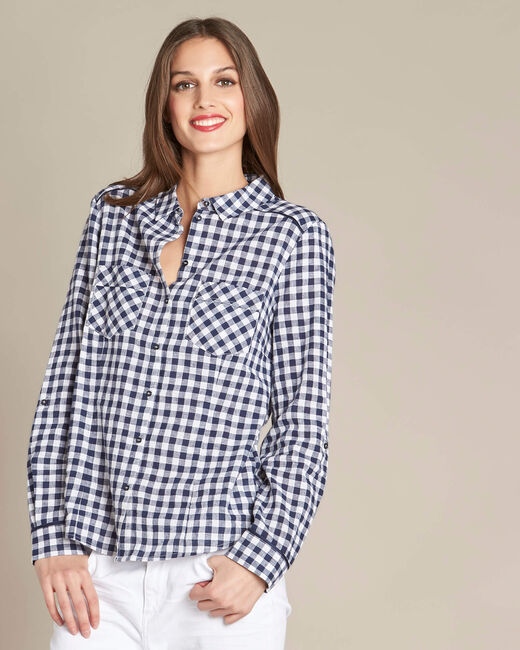 Alvin navy check shirt (2) - 1-2-3