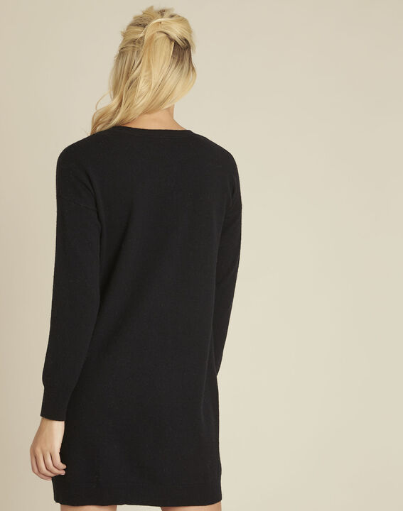 Baltus black knit dress with faux leather pocket (4) - 1-2-3