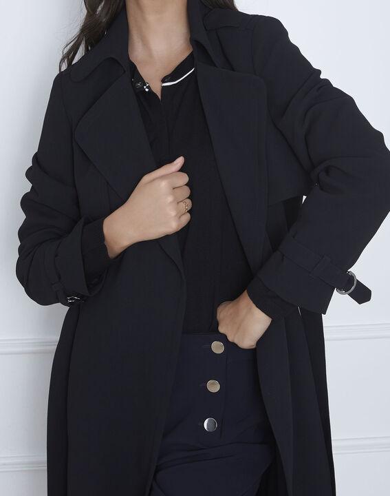 Langer schwarzer Mantel mit Reverskragen Klara (3) - 1-2-3
