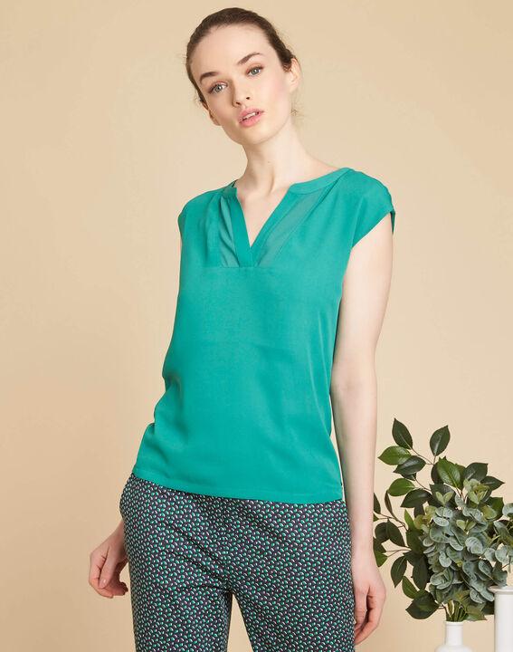 Blaues T-Shirt mit Netzstreifen am Ausschnitt Bianca (3) - 1-2-3