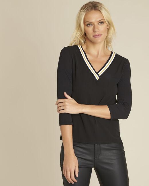 Schwarze Bluse aus Bimaterial mit V-Ausschnitt Clare (2) - 1-2-3