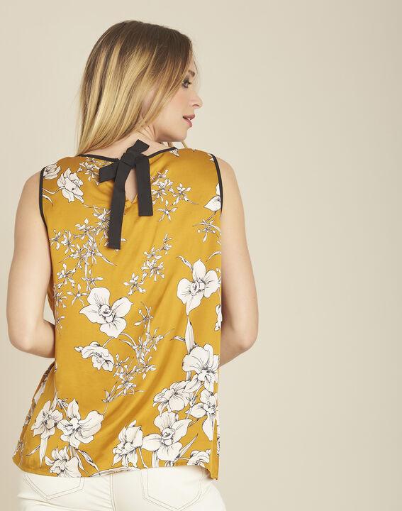 Gelbe Bluse mit Blumenprint und Schleife am Rücken Canette (4) - 1-2-3