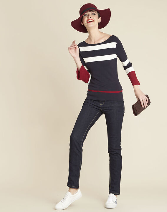 Bins navy blue striped sweater with pagoda sleeves (3) - 1-2-3