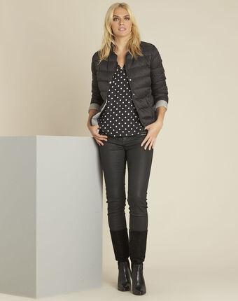 Zwarte blouse met stippenprint van twee soorten materiaal genna noir.