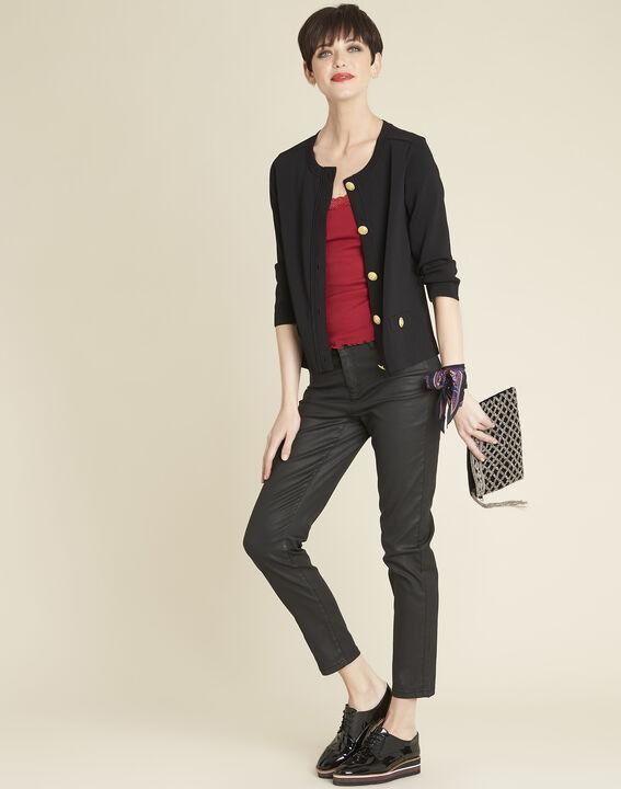 Zwarte vest van tricot met vergulde knopen Bonny (2) - 37653