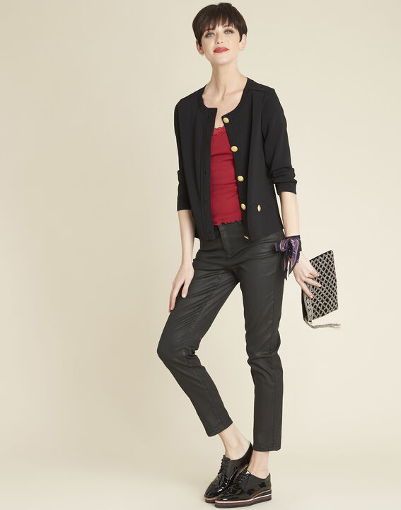 Bonny black knit cardigan with golden buttons (2) - Maison 123