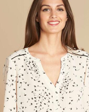 Arletty ecru blouse with gingko print ecru.