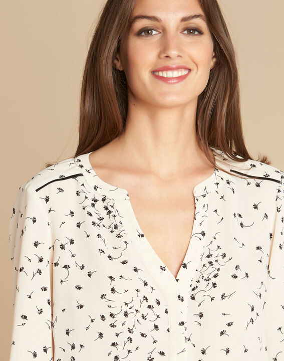 Arletty ecru blouse with gingko print (1) - 1-2-3