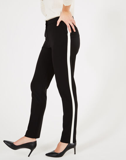 Vadim black and white tailored trousers with strips (2) - 1-2-3
